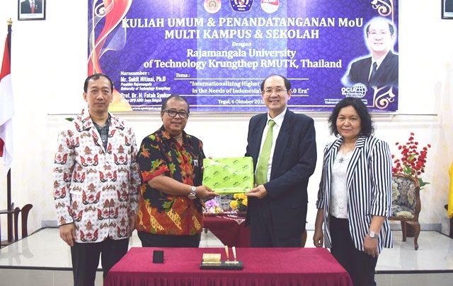 Kuliah Umum dan Penandatanganan MoU Multi Kampus dan Sekolah dengan Rajamangala University of Technology Krungthep RMUTK, Thailand
