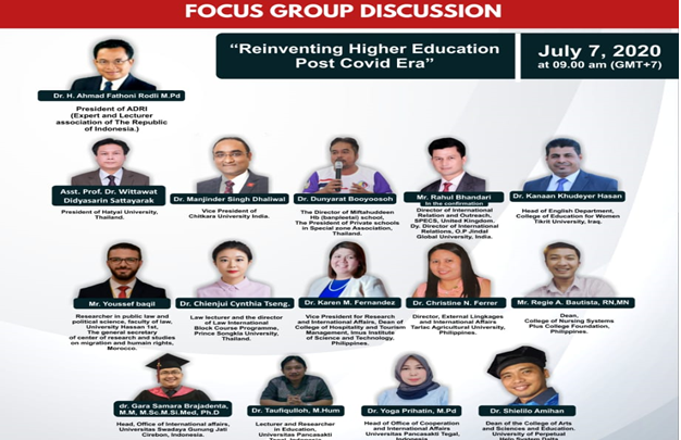 INTERNATIONAL WEBINAR FOCUS GROUP DISCUSSION FROM OFFICE OF COOPERATION AND INTERNATIONAL AFFAIRS (OCIA) IN COLLABORATION WITH MASTER IN PEDAGOGY UNIVERSITAS PANCASAKTI TEGAL SUPPORTED BY ADRI JAWA TENGAH